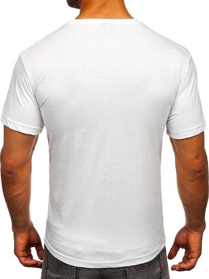 Biały t-shirt męski z nadrukiem Bolf 1267