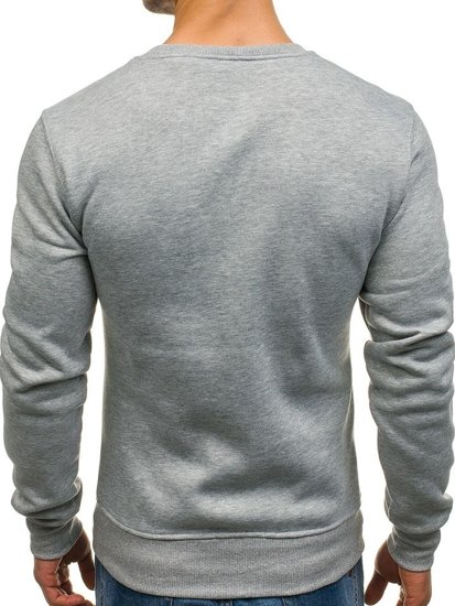 Bluza męska bez kaptura bez nadruku szara Denley J28