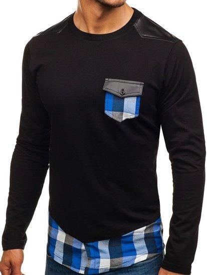 Bluza męska bez kaptura czarno-niebieska Denley 0753