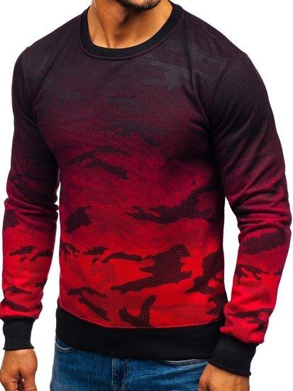 Bluza męska bez kaptura moro-czerwona Denley DD132-2