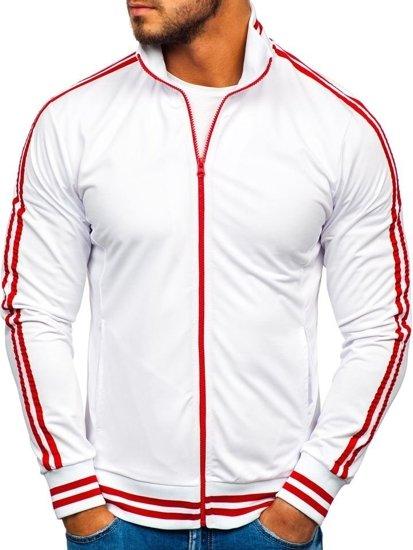 Bluza męska bez kaptura rozpinana biała Bolf 11112