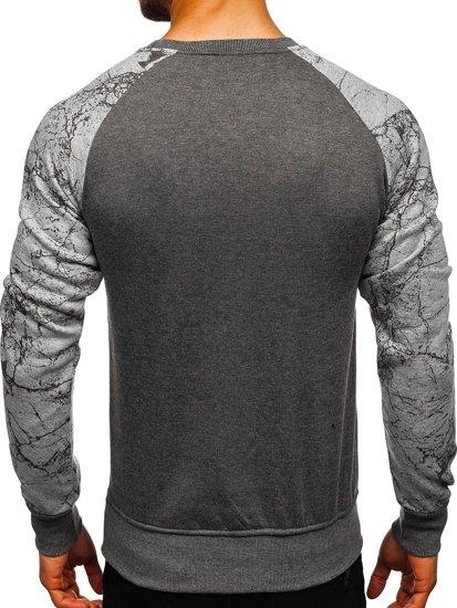Bluza męska bez kaptura z nadrukiem antracytowa Denley J39