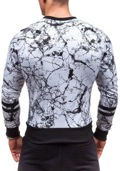 Bluza męska bez kaptura z nadrukiem biała Denley 2126