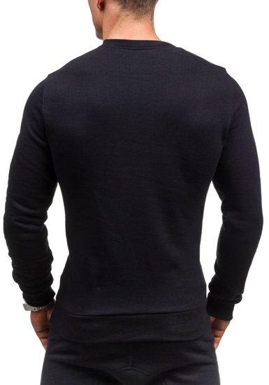 Bluza męska bez kaptura z nadrukiem czarna Bolf 56S