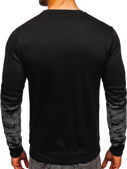 Bluza męska bez kaptura z nadrukiem czarna Denley DD392