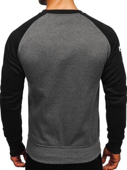 Bluza męska bez kaptura z nadrukiem czarno-antracytowa Denley J09