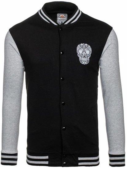 Bluza męska bez kaptura z nadrukiem czarno-szara Denley 0844