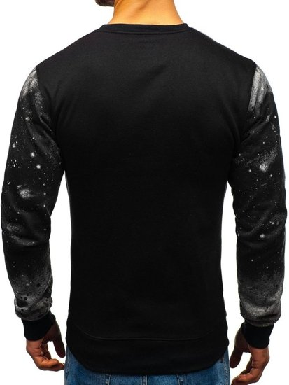 Bluza męska bez kaptura z nadrukiem czarno-szara Denley DD681