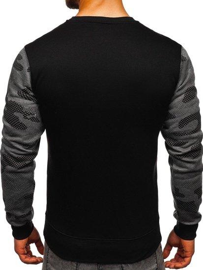 Bluza męska bez kaptura z nadrukiem grafitowa Denley DD157