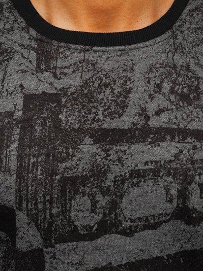 Bluza męska bez kaptura z nadrukiem grafitowa Denley DD659