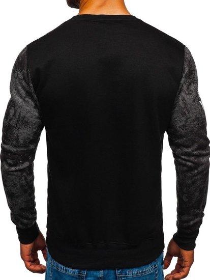 Bluza męska bez kaptura z nadrukiem grafitowa Denley DD670