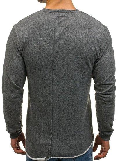 Bluza męska bez kaptura z nadrukiem grafitowa Denley NRT520