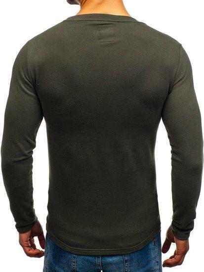 Bluza męska bez kaptura z nadrukiem khaki Denley 9082