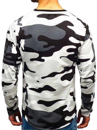 Bluza męska bez kaptura z nadrukiem moro-szara Denley 0743