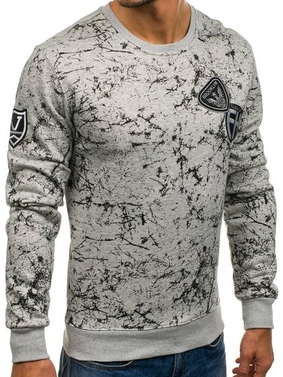 Bluza męska bez kaptura z nadrukiem szara Denley DD115