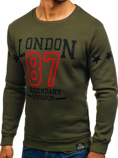 Bluza męska bez kaptura z nadrukiem zielona Denley 0772