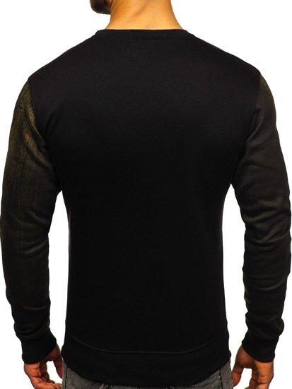 Bluza męska bez kaptura z nadrukiem zielona Denley DD688