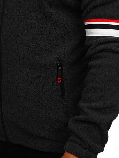 Bluza męska polar z kapturem czarna Denley YL001