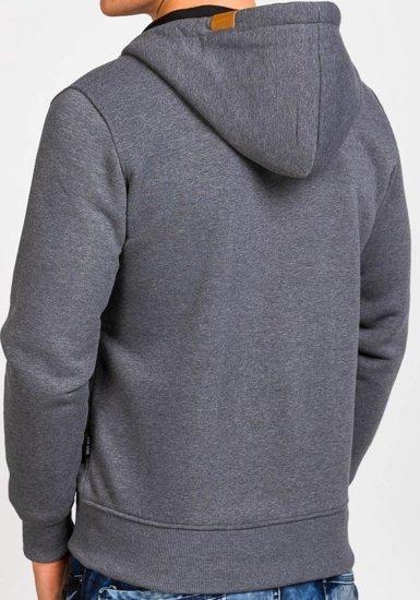 Bluza męska z kapturem antracytowa Denley 3657