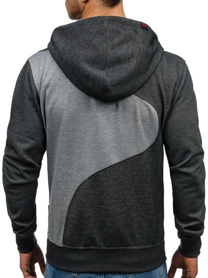 Bluza męska z kapturem antracytowo-grafitowa Denley T955