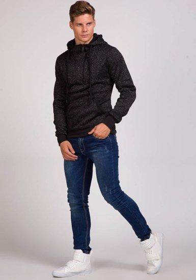 Bluza męska z kapturem czarna Denley 2134