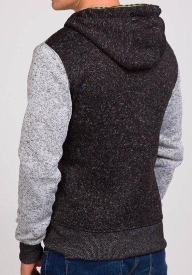 Bluza męska z kapturem czarna Denley 2165