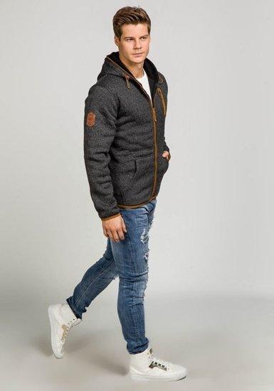 Bluza męska z kapturem czarna Denley 3562