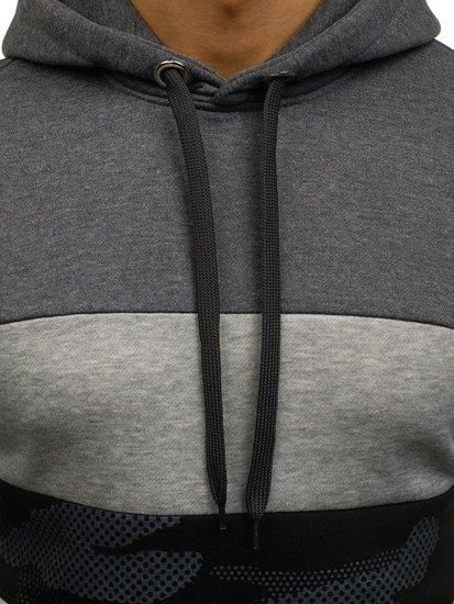Bluza męska z kapturem grafitowa Denley XHP1003