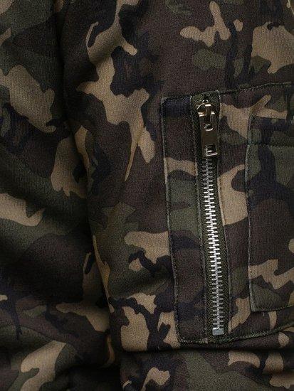 Bluza męska z kapturem moro-khaki Denley 2786
