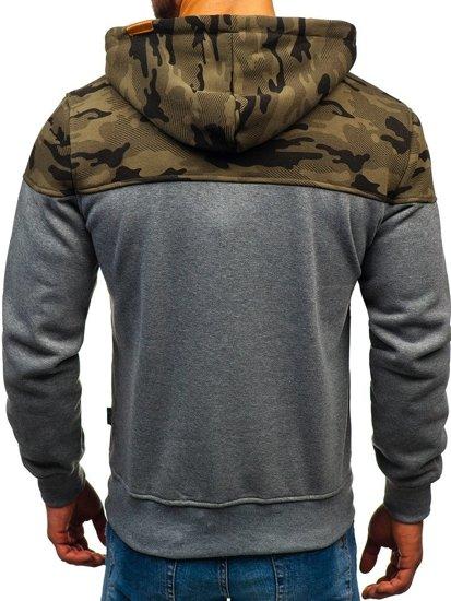 Bluza męska z kapturem moro-szara Denley 3737-A