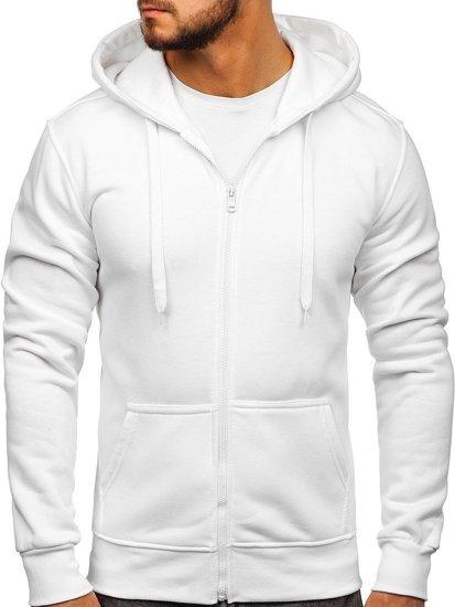 Bluza męska z kapturem rozpinana biała Denley 2008