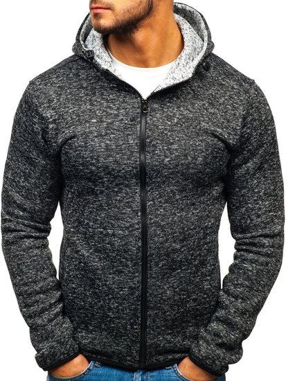 Bluza męska z kapturem rozpinana czarna Denley AK29