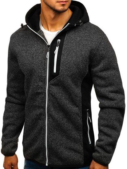 Bluza męska z kapturem rozpinana czarna Denley TC828