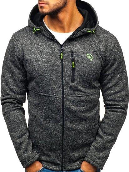 Bluza męska z kapturem rozpinana czarna Denley W1227