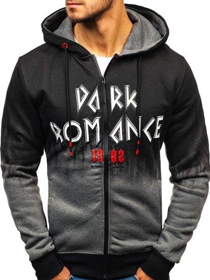 Bluza męska z kapturem rozpinana grafitowa Denley DD533