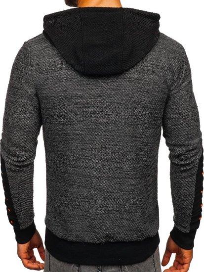Bluza męska z kapturem rozpinana grafitowa Denley TO02
