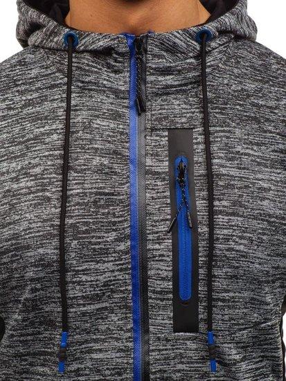 Bluza męska z kapturem rozpinana grafitowa Denley TT79