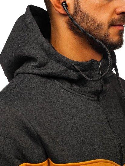 Bluza męska z kapturem rozpinana grafitowa ze słuchawkami Denley 81053
