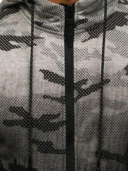 Bluza męska z kapturem rozpinana moro-szara Denley DD130