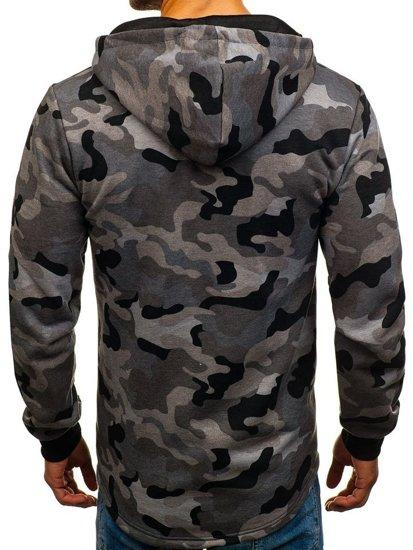 Bluza męska z kapturem rozpinana moro-szara Denley W1381