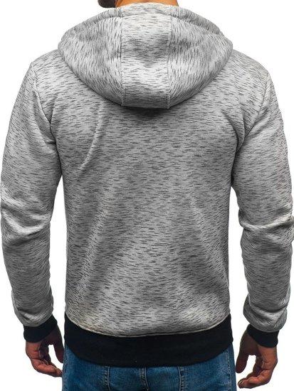 Bluza męska z kapturem rozpinana szara Denley 33025