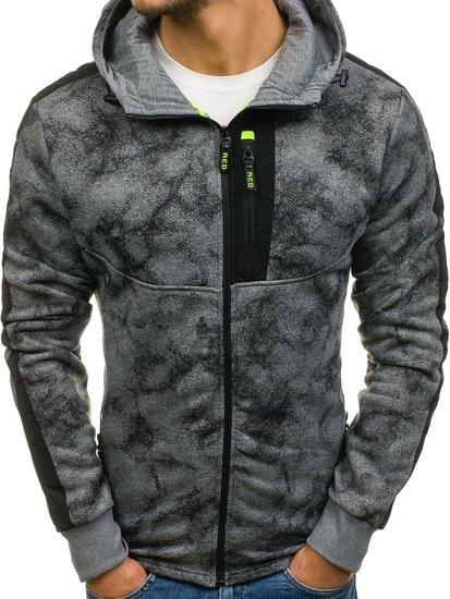 Bluza męska z kapturem rozpinana szara Denley W1571