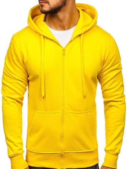 Bluza męska z kapturem rozpinana żółta Denley 2008-A