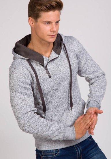 Bluza męska z kapturem szara Denley 2155