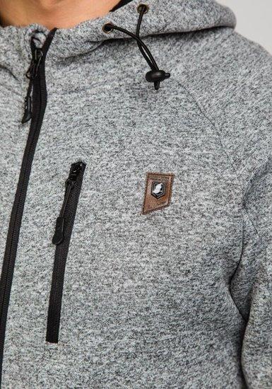 Bluza męska z kapturem szaro-czarna Denley 3556