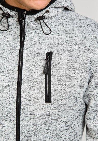 Bluza męska z kapturem szaro-czarna Denley 3562A