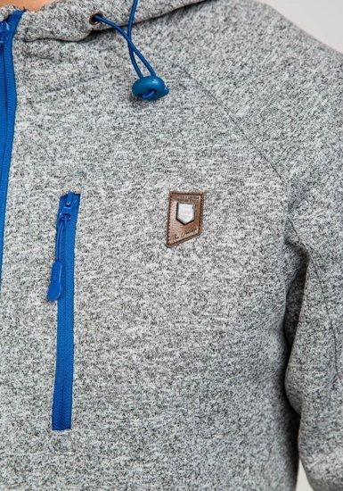 Bluza męska z kapturem szaro-niebieska Denley 3556