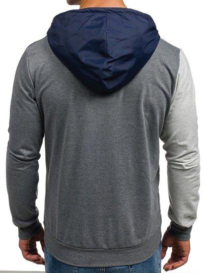 Bluza męska z kapturem z nadrukiem antracytowa Denley 1110