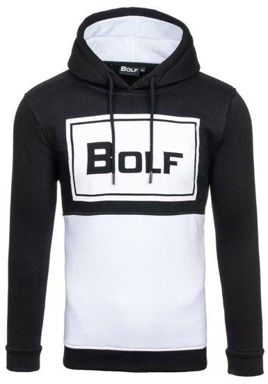Bluza męska z kapturem z nadrukiem czarna Bolf 76