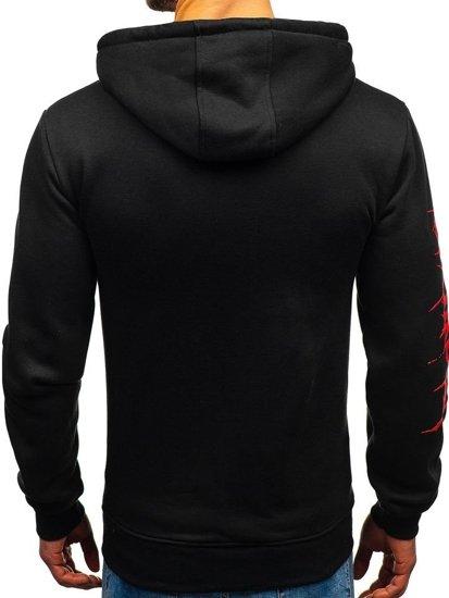 Bluza męska z kapturem z nadrukiem czarna Denley 11019